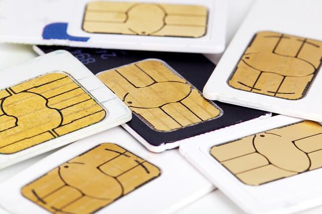 SIMカードの束