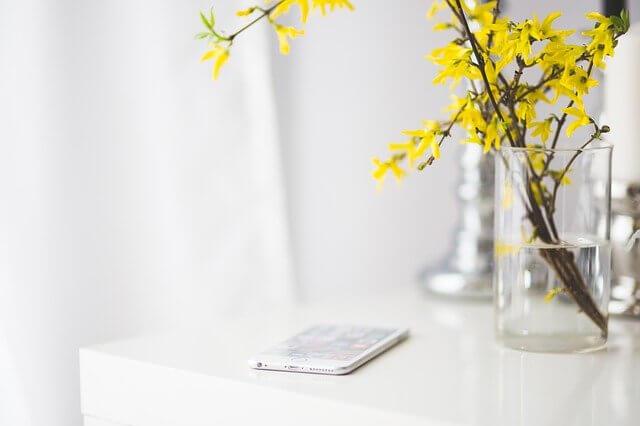iPhoneと花
